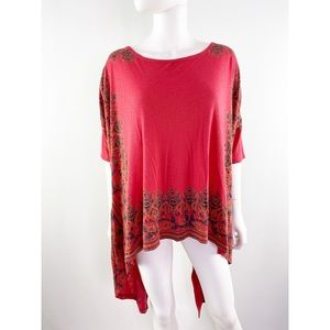 Free People Coral Red Floral Handkerchief Top